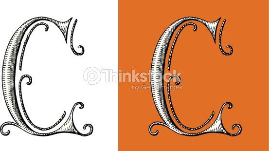 C Letter Alphabet Type Retour Du Rétro Lettrine Circus stock vector   Thinkstock