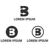 letter b negative space arrow icon design