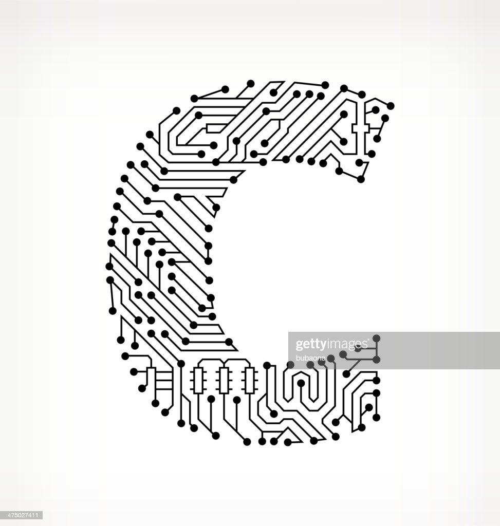 letter c circuit board on white background vector art