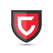 Letter C Protect Shield Logo Icon Template. Vector Emblem. Abstract symbol of security.