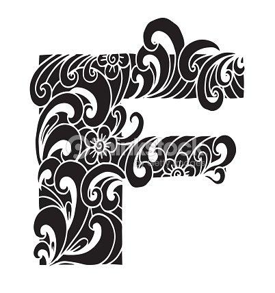Letra F Para Colorear Objeto Decorativo De Vector Ilustración ...