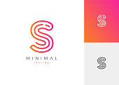 S Letter Initials Design Template. Minimal Line Vector typo Illustration