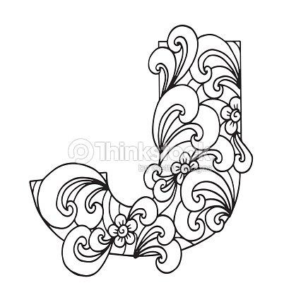 Letra J Para Colorear Objeto Decorativo De Vector Ilustración ...