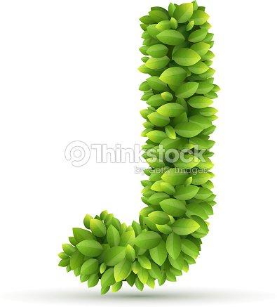 Letra J Vector Alfabeto De Hojas Verdes Arte vectorial | Thinkstock