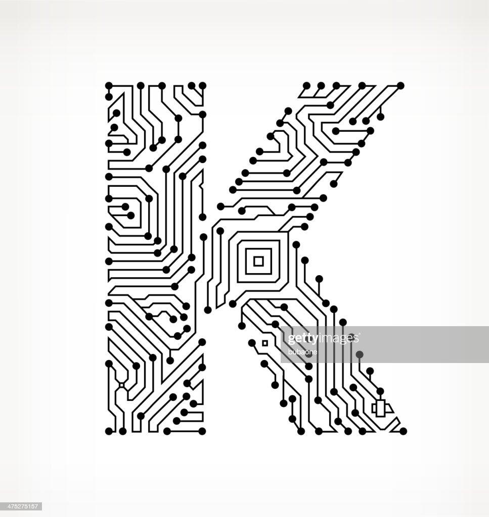 letter k circuit board on white background vector art