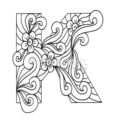 Letra K Para Colorear Objeto Decorativo De Vector Ilustración ...