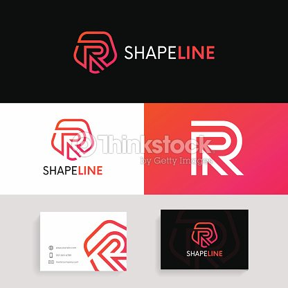 R letter linear logo shield icon sign with brand business card r letter linear logo shield icon sign with brand business card vector design arte reheart Images