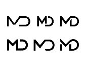 Letter M and D vector logo of ligature monogram icon for business or company brand