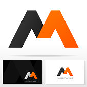 Letter M design vector sign - Stock vector. Business card templates.