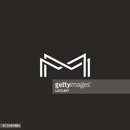 Letter M Monogram Logo Thin Line Black White Design Element Vector