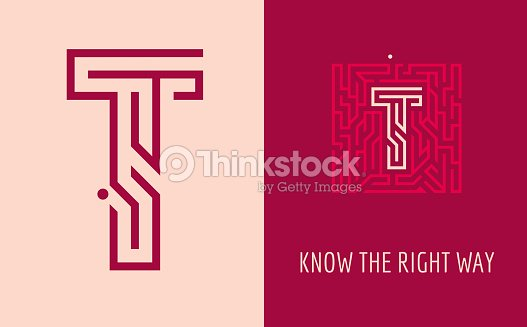 t letter maze creative sign for corporate identity of company letter