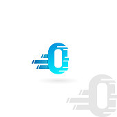 Letter O logo. Blue distorted vector icon. Speed concept font