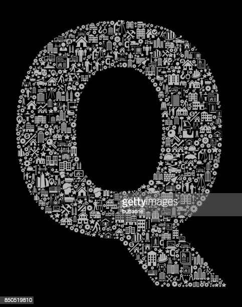 Letter Q bouw industrie Vector Icon patroon