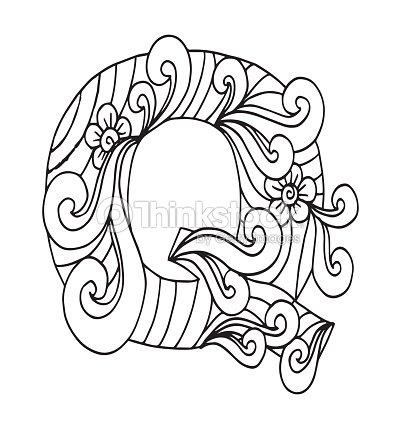 Letra Q Para Colorear Objeto Decorativo De Vector Ilustración ...