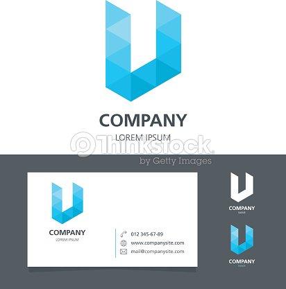 letter u logo design element with business card ベクトルアート