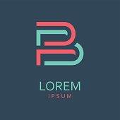 Letter B. Icon design. Template elements