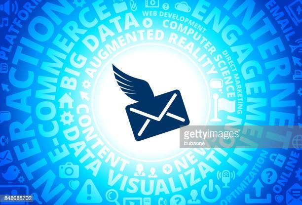 Letter & Wings Icon on Internet Modern Technology Words Background