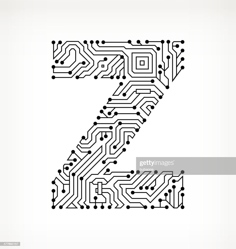 letter z circuit board on white background vector art