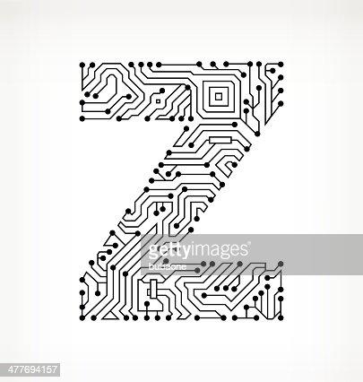 Letter Z Circuit Board On White Background Vector Art