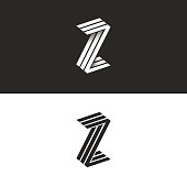 Letter Z icon isometric geometric shape 3D monogram, hipster graphic design initials ZZZ black and white emblem with shadow for wedding invitation or business card