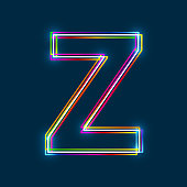 Letter Z - Vector multicolored outline font with glowing effect isolated on blue background. EPS10