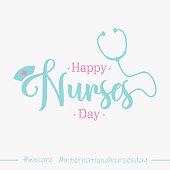 Lettering Happy Nurses Day for International Nurses Day background. International Nurse Day poster or banner element design. Vector illustration EPS.8 EPS.10