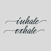"""Lettering poster for bedroom """"Inhale, exhale"""". Vector illustration."""