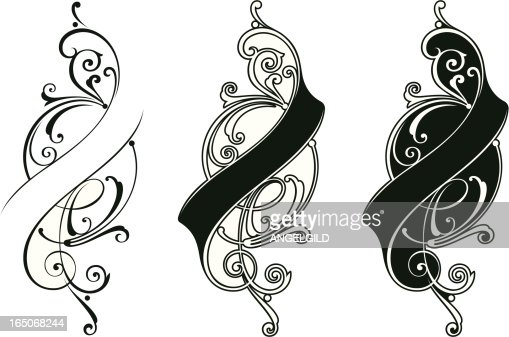 lettering ribbon scrolls vector art