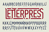 Letterpress printing style vintage typeface with special characters vector illustration