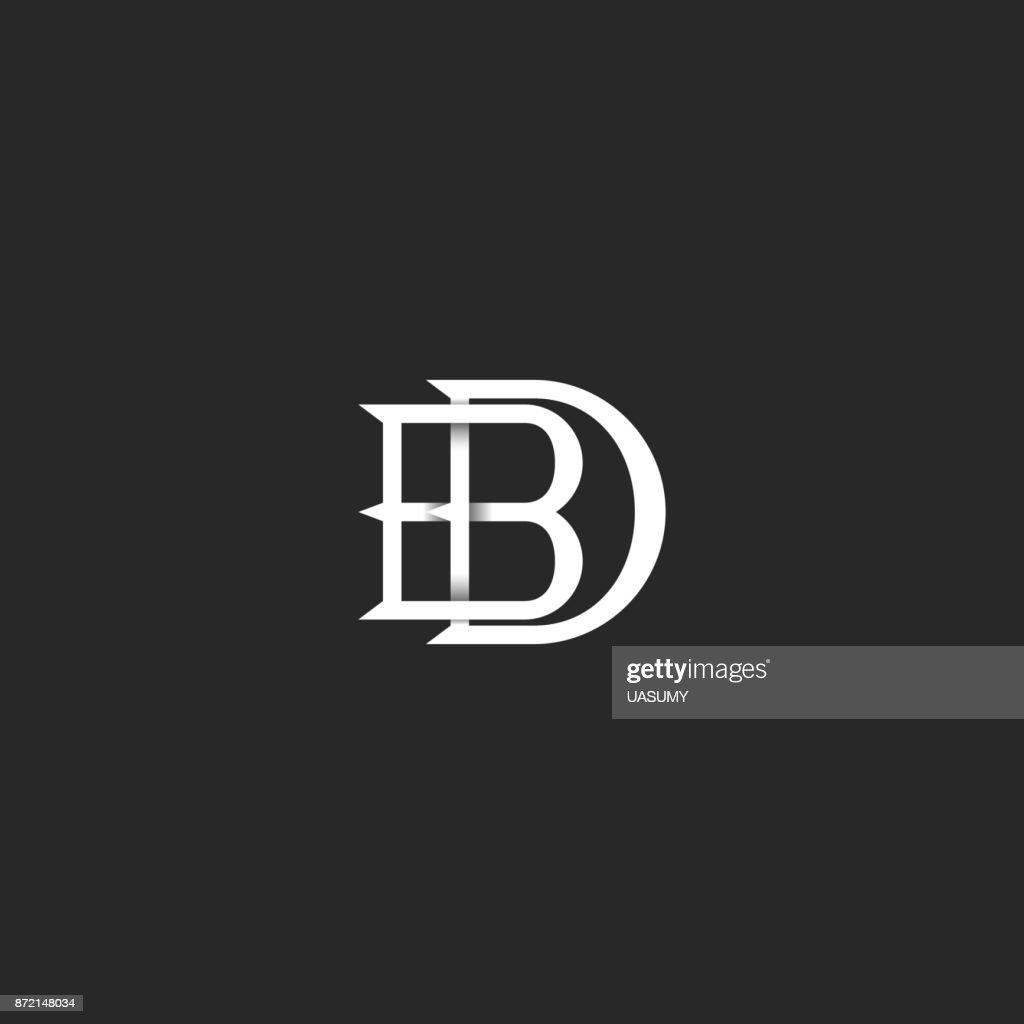 Briefe BD Symbol Monogramm, Hipster Mark Für Hochzeitseinladung,  überlappende Verknüpften Buchstaben B Und D, Initialen DB Für Visitenkarte