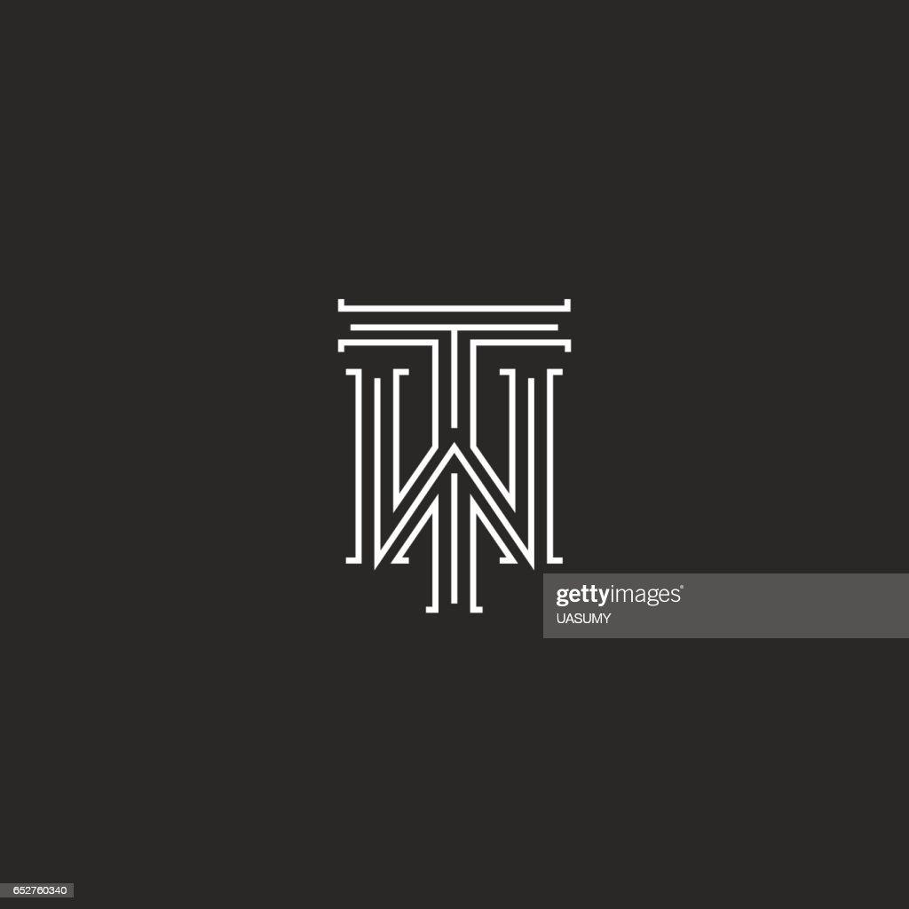 TW Buchstaben Logo Mittelalterlichen Monogramm Schwarz / Weiß Kombination  Kreuzung Initialen WT Für Hochzeit Einladung Emblem
