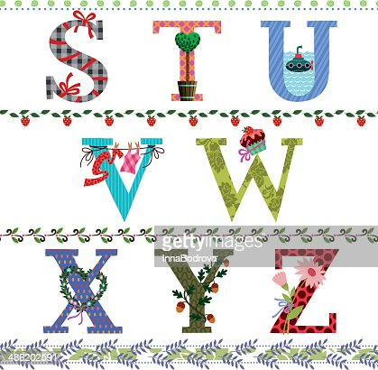 letters of the alphabet from s to z vector art