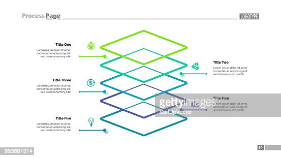 Level Diagram with Five Elements Template : stock vector