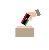 Libya elections, national flag and ballot box, white background vector work