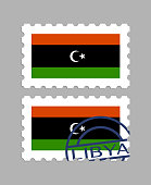 Libyan flag on postage stamps