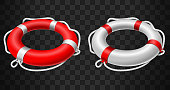 illustration of Life buoy icon red and white on black background