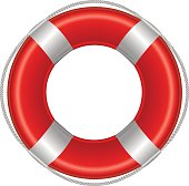 Red Life Buoy, Isolated On White Background, Vector Illustration