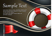 Life buoy with rope & flag on mash background, vector illustration