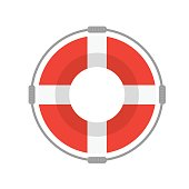 Life Buoy with Rope On White Background. Flat Design Style Vector illustration