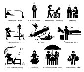 Stick figures depict life insurance protection for premature death, critical illness, permanent disabilities, medical, hospital,  accident, travel, and saving plans.