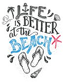 Life is better at the beach. Hand-lettering quote card with a flip-flops footwear. Beach sign home decor isolation on white background