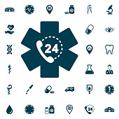 life star emergency phone all day nonstop icon, medical set on white background. Health Care Vector illustration