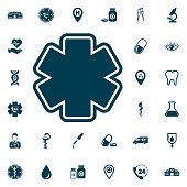 life star icon, medical set on white background. Health Care Vector illustration