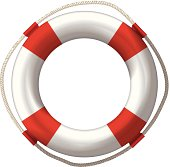 lifebelt, lifebuoy isolated on white high detailed