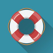 Lifebuoy flat icon. Flat style vector illustration