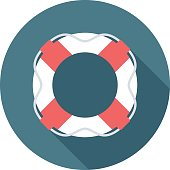 Lifebuoy icon with long shadow. Flat design style. Round icon. Lifebuoy silhouette. Simple circle icon. Modern flat icon in stylish colors. Web site page and mobile app design vector element.