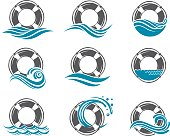 collection of lifebuoy symbol with sea waves