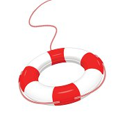 Vector illustration of white red Lifebuoy isolated on white.  EPS10.