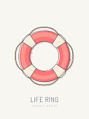 Lifebuoy vector illustration. Life ring is drawn in vintage line art style with pastel colors on toned paper.