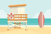 Lifeguard tower and surfboard on a beach. Flat design style.